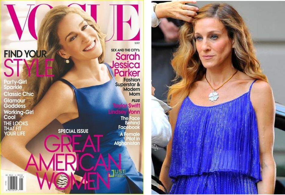 E se uma coisa é moda ela vai parar no closet de Carrie Bradshaw! (Capa Vogue americana Maio 2010, Sarah Jessica Parker no set de Sex & The City 2 em Halston Heritage).