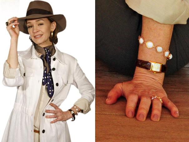 A elegante personagem de Júlia Lemmertz tem guarda-roupa inspirado no country inglês.