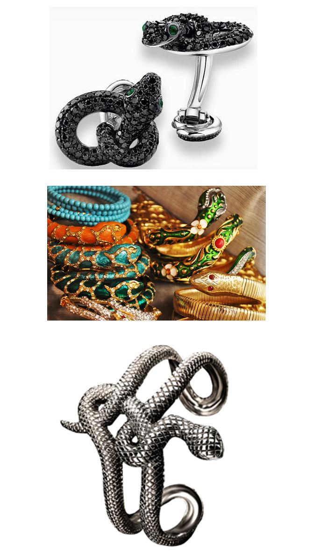 Cobras famosas: de cima para baixo, abotoaduras em diamante negro by Angelina Jolie e Brad Pitt, para Asprey. As muitas cobras que Anna Dello Russo, editora da Vogue Japonesa coleciona (e usa) e a belíssima pulseira da Joalheria Natan.
