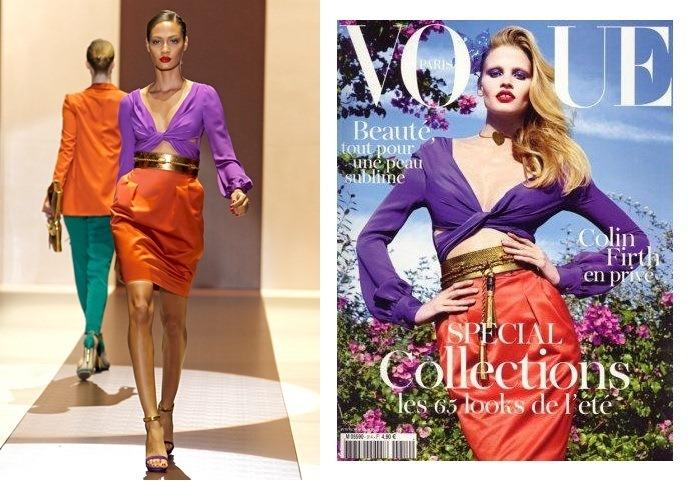 Gucci - Primavera 2011 e a capa da Vogue Paris de Fevereiro 2011: working girl poderosa não tem medo de usar cores.