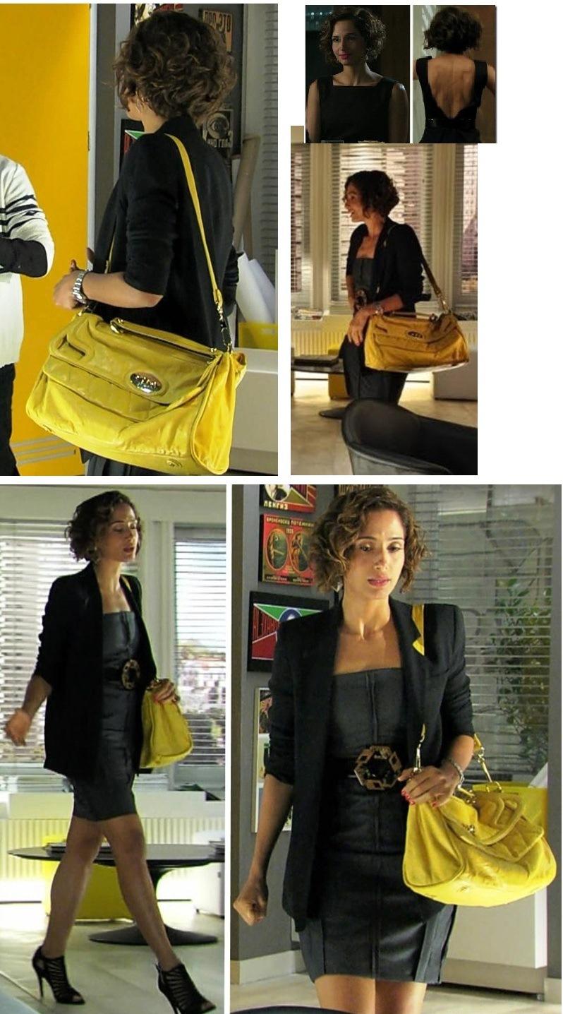 """O tubinho preto """"acende"""" com a maxi-bolsa amarela."""