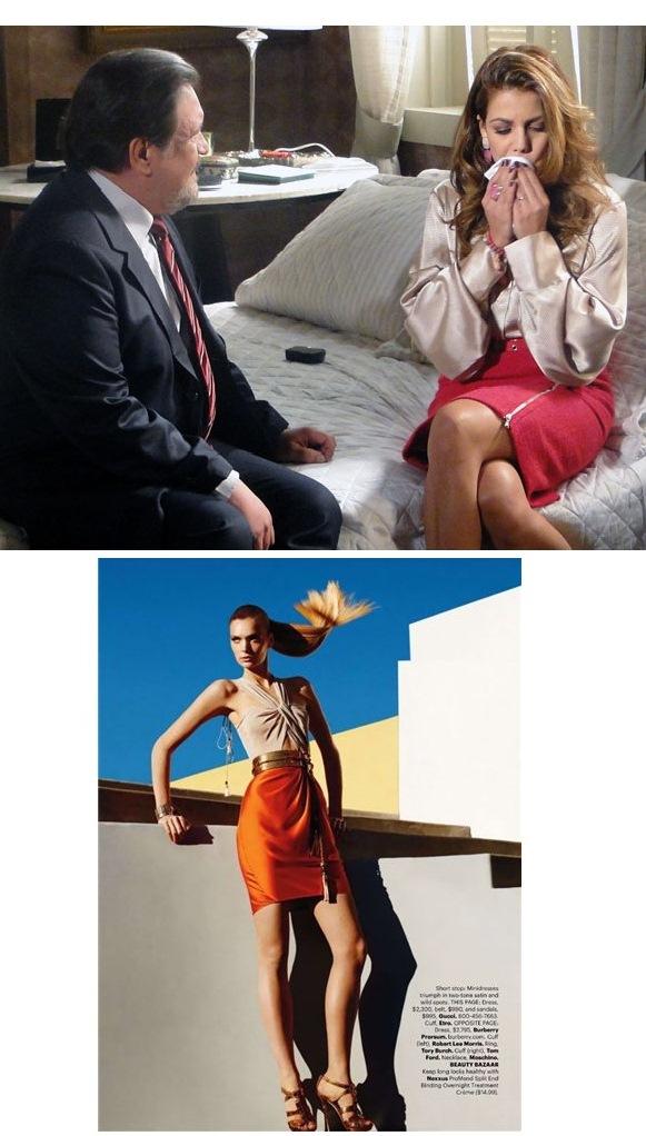 """Em capítulo de 17 maio de Morde & Assopra, o ciumento Oséas (Luis Mello) exige que Lavínia tire o """"batom roxo"""" e desista de usá-lo. Abaixo, imagem de editorial da revista Harper's Bazaar de fevereiro"""