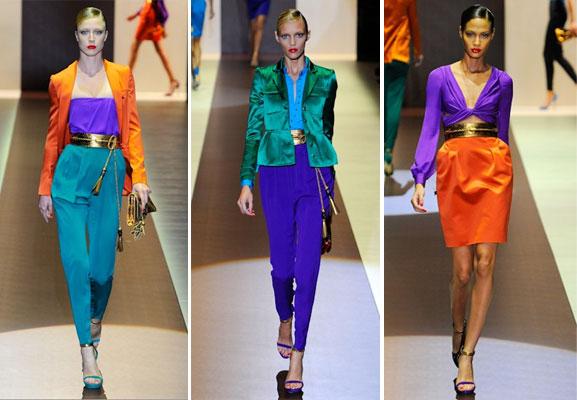 O desfile da Gucci Verão 2011 lançou a tendência dos blocos de cor