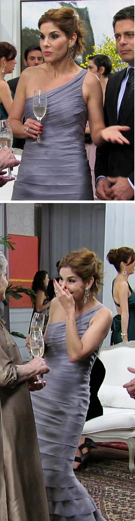 O vestido de Gilda, da grife Saad agradou as telespectadoras e empatou com o de Carol
