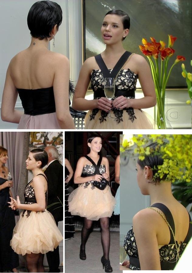 Leila apareceu em modelo com saia de tule de Arthur Caliman