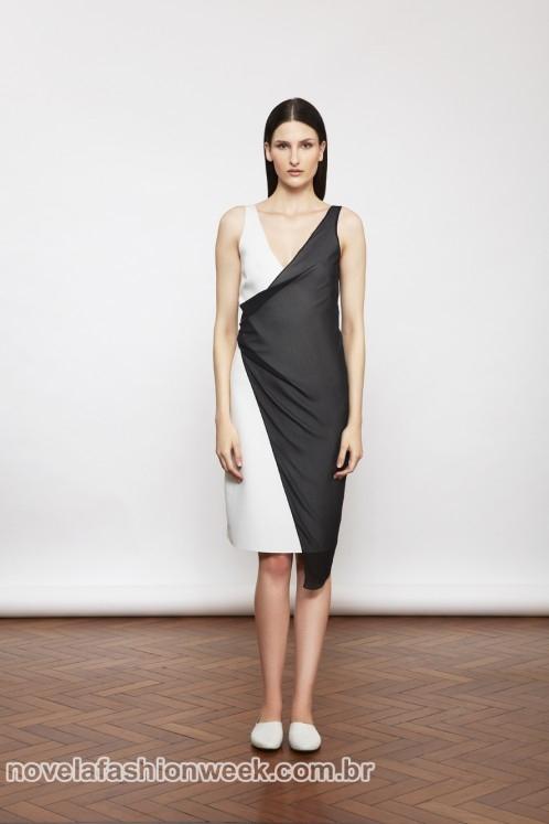 vestido bicolor detalhe torcido preto e branco lilia cabral império mara mac